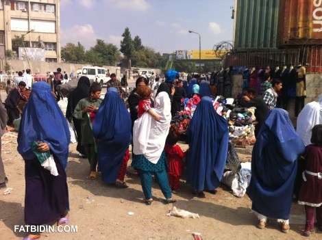 Women shopping in a Kabul market