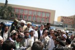 Daud Sultanzoi speaking at a demonstration in Kabul, Afghanistan.