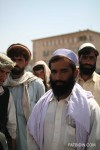 Mohamed Ismail, a demonstrator, leads a group of his fellow Afghans.