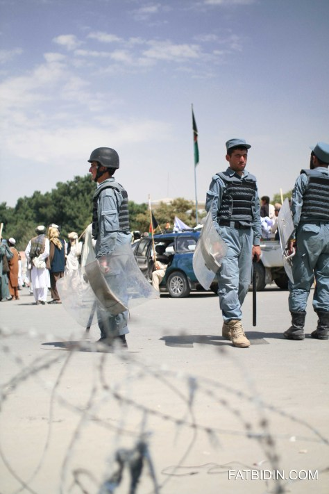 Police keeping the peace during a deomnstration in Kabul, Afghanistan.
