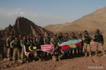 The Malaysian flag flying high in the mountains of Afghanistan.