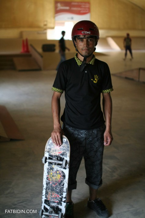 Merza Muhammadi, one of the best skateboarders in Afghanistan and an instructor at Skateistan.