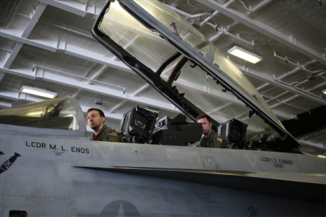 US Navy pilots manning their F18 Super Hornets.