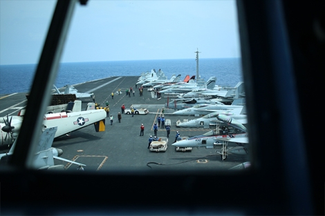 Viewing the deck of the USS Carl Vinson, a Nimitz-class supercarrier, from the bridge.